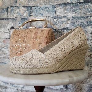 NEW Mudd Cream Crochet Wedge Espadrilles Size 8